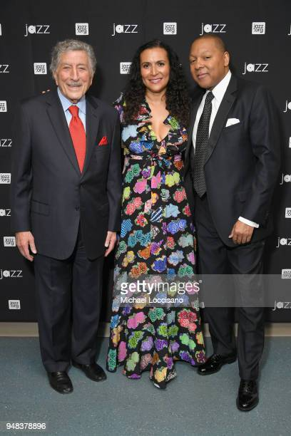 Tony Bennett Patricia Blanchet and Wynton Marsalis pose backstage during Jazz At Lincoln Center's 30th Anniversary Gala at Jazz at Lincoln Center on...