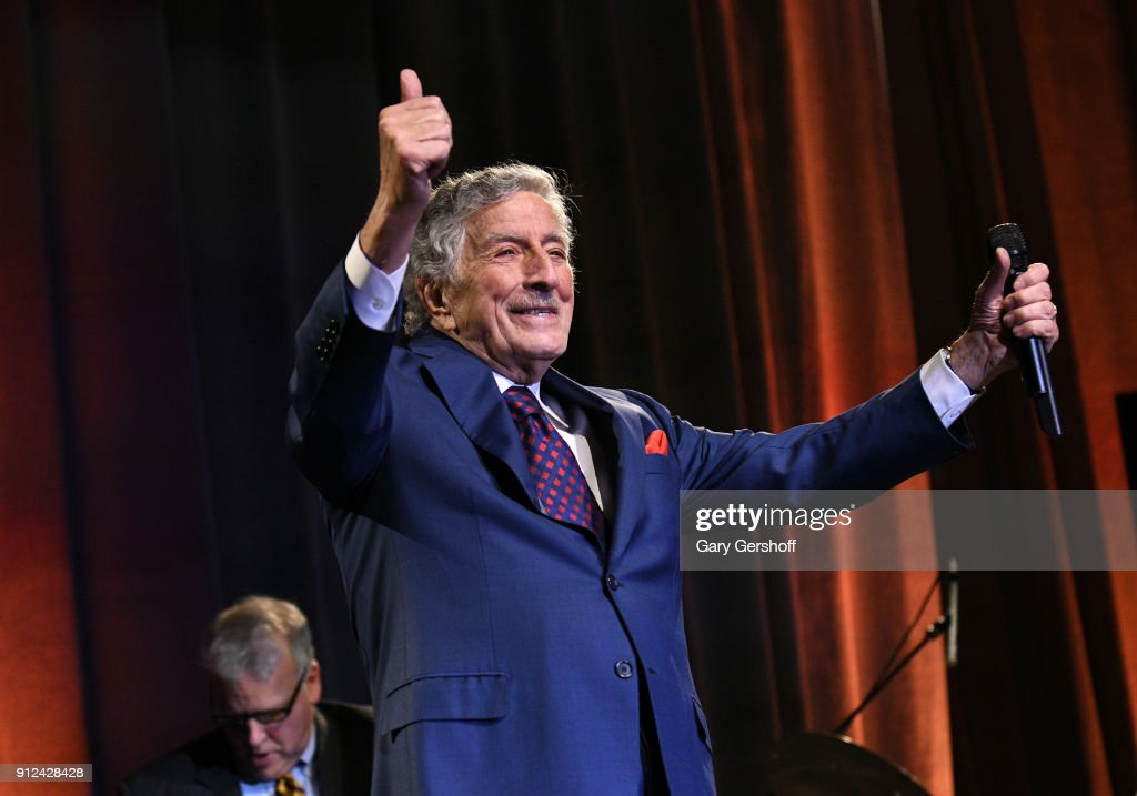 Tony Bennett performs at the 11th Annual Exploring The Arts Gala 2018 hosted by Tony Bennett and Susan Benedetto at The Ziegfeld Ballroom on January 30, 2018 in New York City.