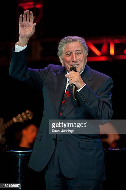 Tony Bennett performs at the 25th Annual Bridge School Benefit Concert at Shoreline Amphitheatre on October 23, 2011 in Mountain View, California.
