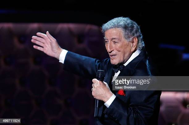 Tony Bennett performs during 'Sinatra 100 An AllStar GRAMMY Concert' celebrating the late Frank Sinatra's 100th birthday at the Encore Theater at...