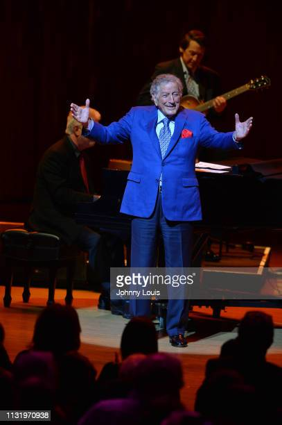 Tony Bennett performs on stage at the Adrienne Arsht Center for the Performing Arts on March 21 2019 in Miami Florida