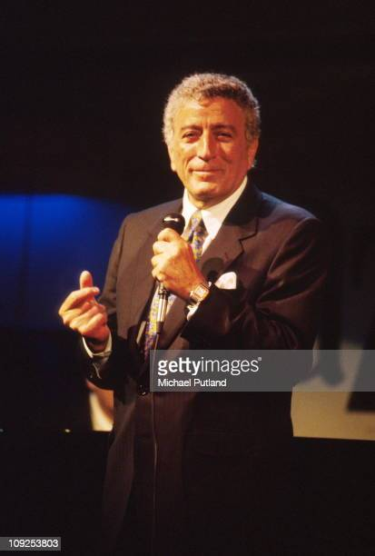 Tony Bennett performs on stage London 1995