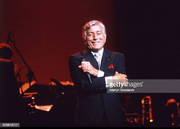 Tony Bennett performs on stage with The Count Basie Orchestra, Radio City Music Hall, New York, United States, 1998.