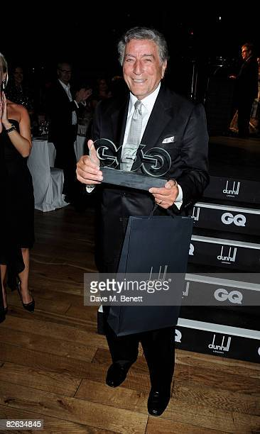 Tony Bennett poses with his Inspiration Award at the GQ Men Of The Year Awards at The Royal Opera House on September 2 2008 in London England
