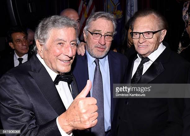 Tony Bennett Robert De Niro and Larry King speak as the Friars Club Honors Tony Bennett With The Entertainment Icon Award Inside at New York Sheraton...