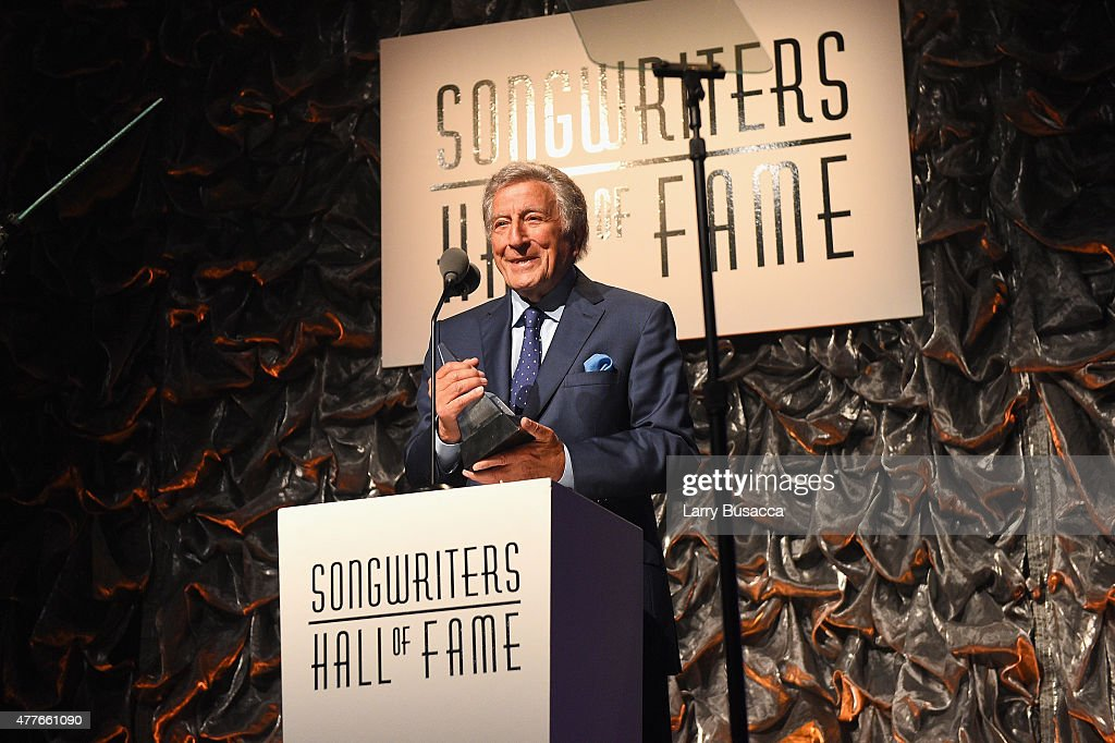 Tony Bennett speaks onstage at the Songwriters Hall Of Fame 46th Annual Induction And Awards at Marriott Marquis Hotel on June 18, 2015 in New York City.