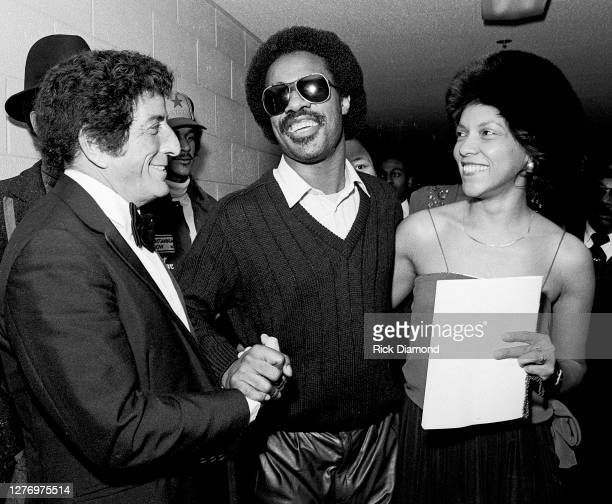 Tony Bennett, Stevie Wonder and Guest backstage during M.L.K Gala at The Atlanta Civic Center in Atlanta Georgia, January 13, 1982 (Photo by Rick...