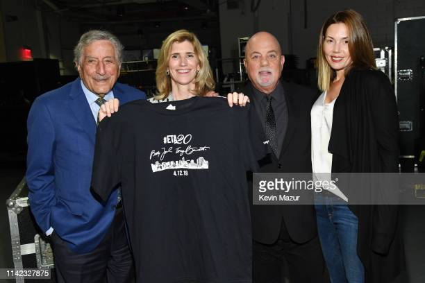 Tony Bennett Susan Benedetto Billy Joel and Alexis Roderick pose backstage at Madison Square Garden as Tony Bennett and Susan Benedetto Celebrate...