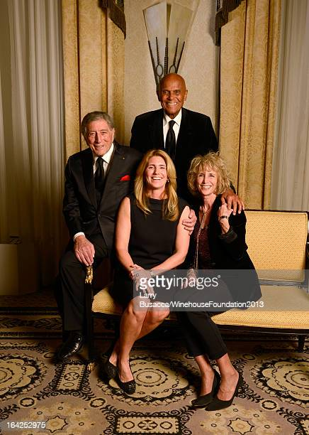 Tony Bennett Susan Crow Harry Belafonte and Pamela Frank pose for a portrait during the 2013 Amy Winehouse Foundation Inspiration Awards and Gala at...