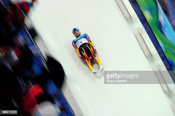 Tony Benshoof of the USA competes during the Luge Men's Singles on day 2 of the 2010 Winter Olympics at Whistler Sliding Centre on February 13 2010...