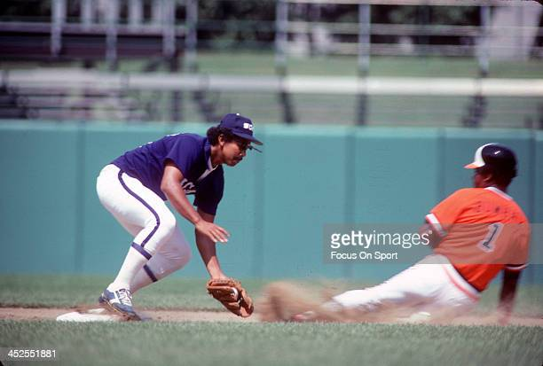Tony Bernazard of the Chicago White Sox tags out Al Bumbry of the Baltimore Orioles during an Major League Baseball game circa 1981at Memorial...