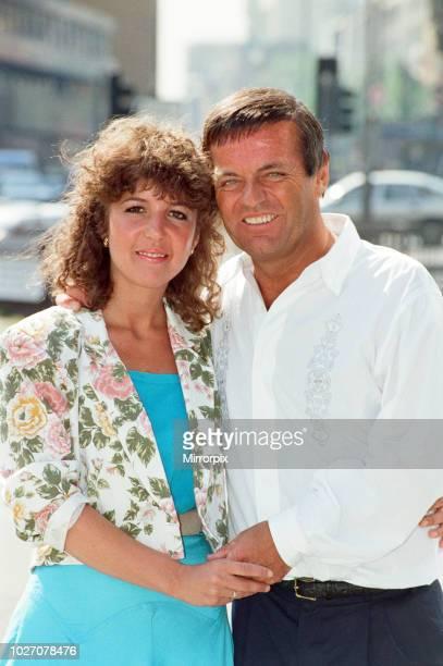 DJ Tony Blackburn and Debbie Thomson celebrate their engagement 29th July 1991