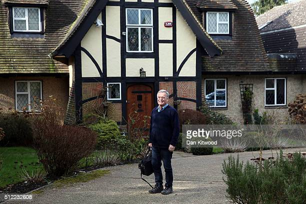 Tony Blackburn arrives at his home and hands a statement to the press on February 25, 2016 in Barnet, England. Radio DJ Tony Blackburn said in the...