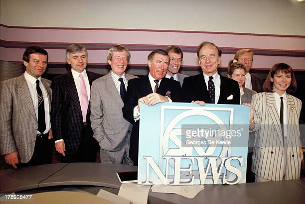 Tony Blackburn, Peter Marshall, Derek Jameson, Andrew Neil, Alastair Yates, Rupert Murdoch, Penny Smith, Bob Friends, Kay Burley during the launch of...