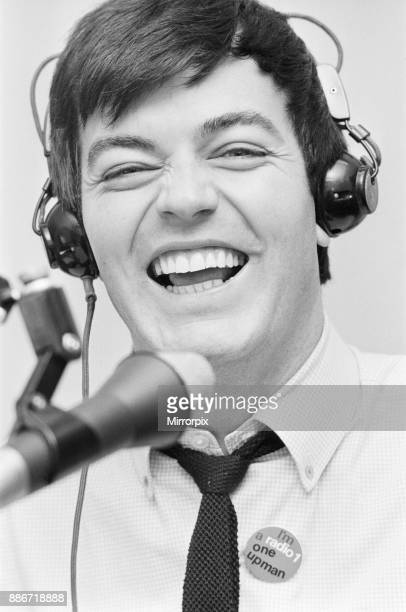 Tony Blackburn the 22 year old Disc Jockey at his Radio Luxembourg studio presenting his radio show Tony Blackburn recently launched BBC Radio One...