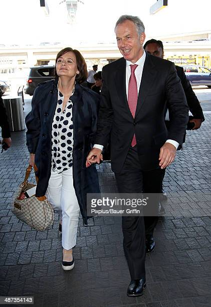 Tony Blair and Cherie Blair are seen on April 29 2014 in Los Angeles California