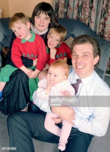 Tony Blair and family December 1988 Tony Blair future labour prime minister with his wife Cherie and sons Ewan 4 and Nicky 3 and their daughter...