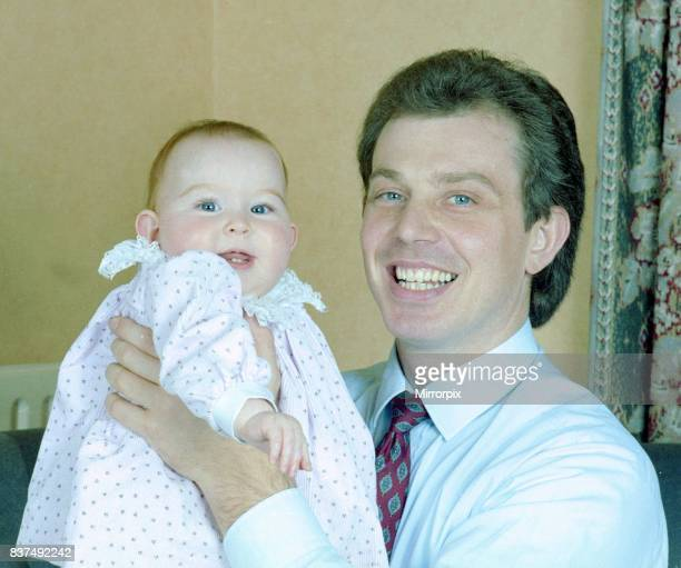 Tony Blair and family December 1988 Tony Blair future labour prime minister with his daughter Kathryn
