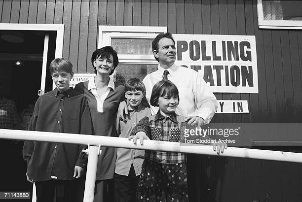 Tony Blair and his family in his Sedgefield constituency after voting on election day