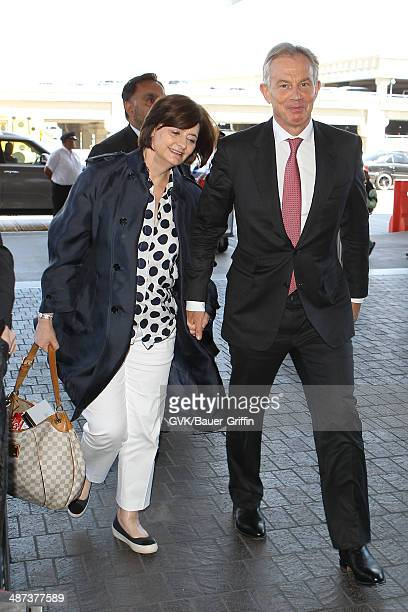 Tony Blair and his wife Cherie Blair seen at LAX on April 29 2014 in Los Angeles California