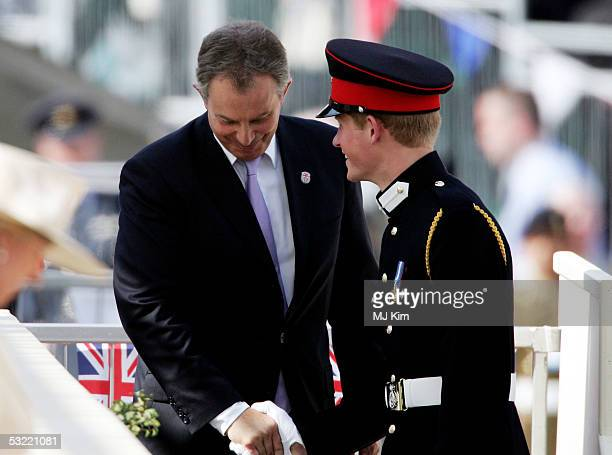 Tony Blair and Prince Harry are seen at the Recollections Of World War II Commemoration Show an hour long show performed for thousands of World War...
