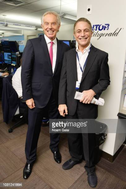 Tony Blair and Tony Danza attend the Annual Charity Day hosted by Cantor Fitzgerald BGC and GFI at Cantor Fitzgerald on September 11 2018 in New York...