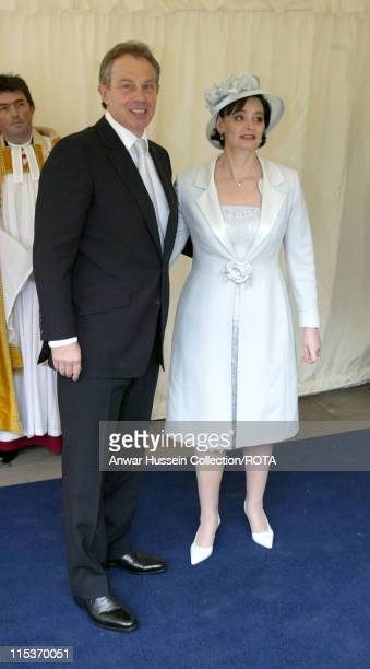 Tony Blair and wife Cherie Blair during The Royal Wedding of HRH Prince Charles and Mrs. Camilla Parker Bowles - The Blessing Ceremony - Arrivals at...