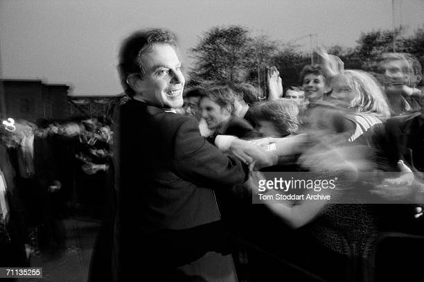 Tony Blair at the election night party on London's South Bank after his successful 1997 General Election campaign to become Britain's first Labour...