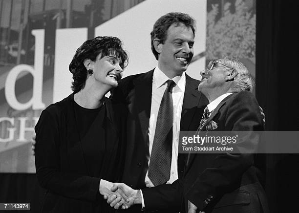 Tony Blair being congratulated by his father Leo on the night of his successful election campaign They are at Trimdon Labour Club in Blair's...