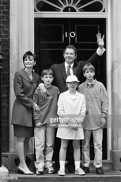 Tony Blair Britain's first Labour Prime Minister since 1979 with his wife Cherie and their children on the steps of 10 Downing Street after his...