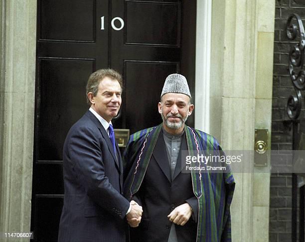 Tony Blair, British Prime Minister, and Hamid Karzai, Afghan President