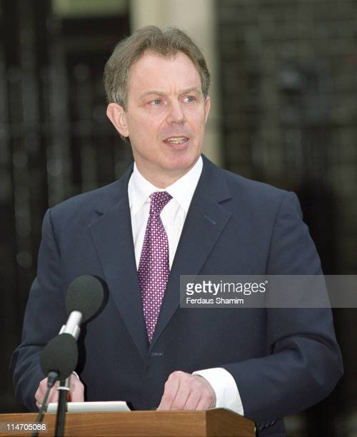 Tony Blair during Tony Blair Announces Two Month Postponement of Elections April 2 2001 at 10 Downing Street London in London England Great Britain