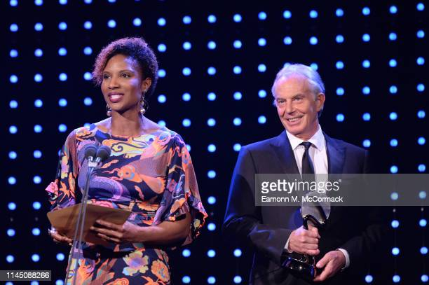 Tony Blair former British Prime Minister and Denise Lewis present the Social and Sustainable Development Award during the BT Sport Industry Awards...