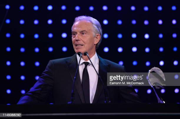 Tony Blair, former British Prime Minister presents the Social and Sustainable Development Award during the BT Sport Industry Awards 2019 at Battersea...
