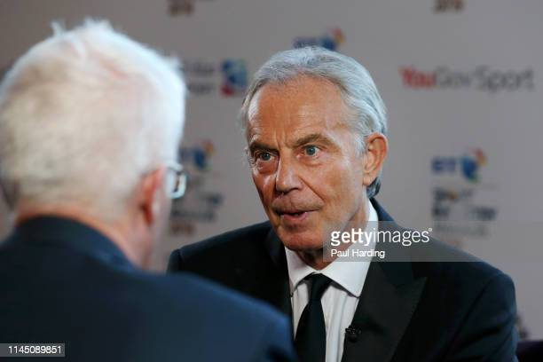 Tony Blair former Prime Minister of the United Kingdom speaks to media ahead of the BT Sport Industry Awards 2019 at Battersea Evolution on April 25...