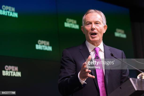 Tony Blair former UK prime minister gestures as he speaks during an Open Britain event at the Bloomberg LP offices in London UK on Friday Feb 17 2017...