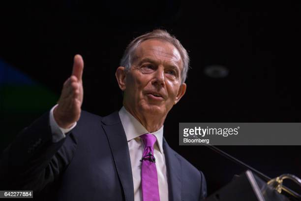 Tony Blair former UK prime minister gestures while speaking during an Open Britain event at the Bloomberg LP offices in London UK on Friday Feb 17...