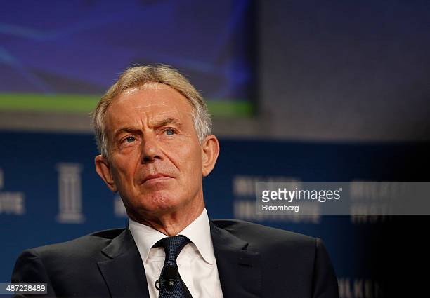 Tony Blair former UK prime minister listens at the annual Milken Institute Global Conference in Beverly Hills California US on Monday April 28 2014...