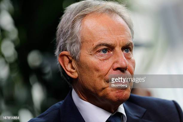 Tony Blair former UK prime minister listens during an interview at the annual Milken Institute Global Conference in Beverly Hills California US on...