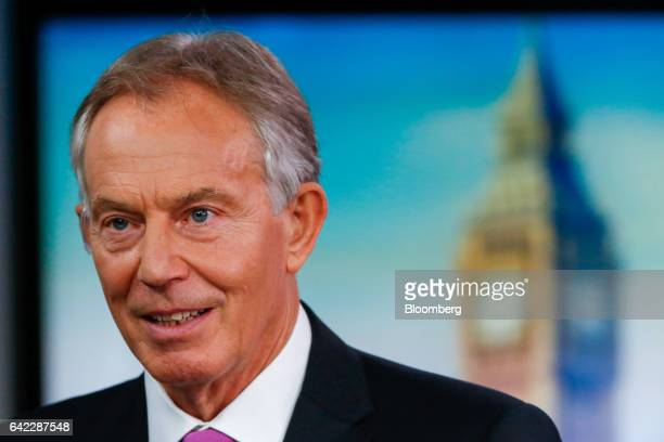 Tony Blair former UK prime minister speaks during a Bloomberg Television interview in London UK on Friday Feb 17 2017 Blair urged opponents of Brexit...
