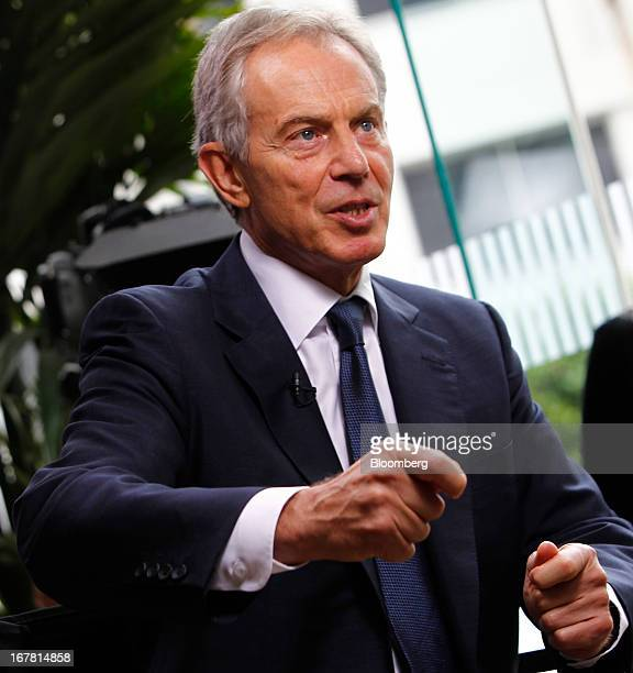 Tony Blair former UK prime minister speaks during an interview at the annual Milken Institute Global Conference in Beverly Hills California US on...