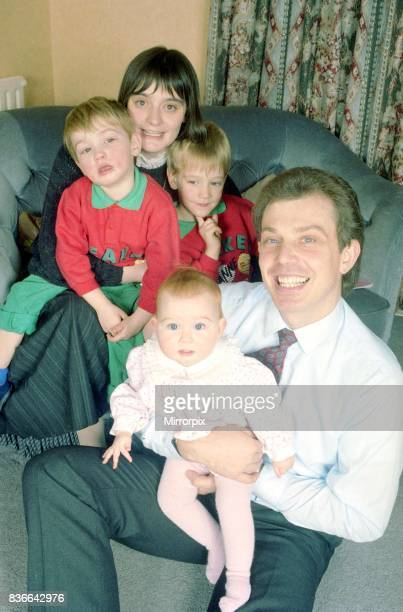 Tony Blair future labour prime minister with his wife Cherie and sons Ewan 4 and Nicky 3 and their daughter Kathryn 8 months December 1988