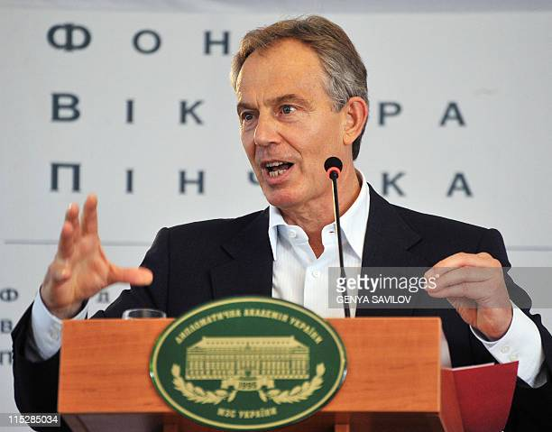 Tony Blair gives a lecture on Faith and Globalization to students from all over Ukraine in Kiev on June 6 2011 Tony Blair Prime Minister of the...