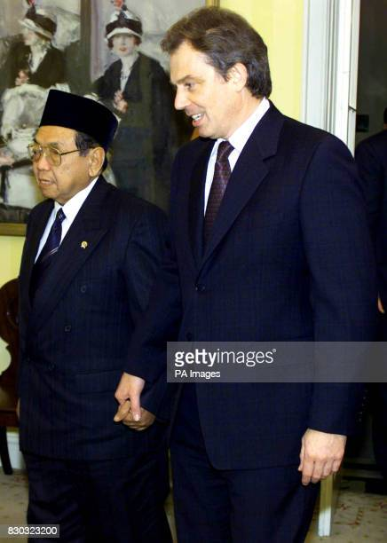 Tony Blair greets Indonesian President Abdurrahman Wahid at 10 Downing Street Mr Blair congratulated Wahid on trying to bring those responsible for...