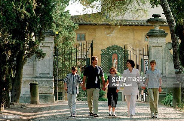 Tony Blair his wife Cherie their children Nicky Kathryn Euan staying at the Villa Cusona