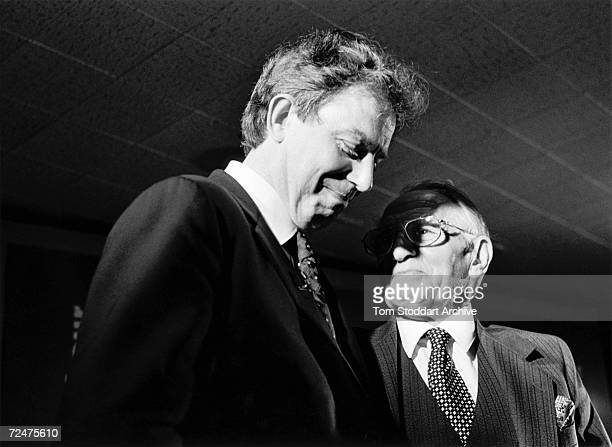 Tony Blair is congratulated by his father Leo on the night of his successful election campaign at Trimdon Labour Club in Blair's constituency of...