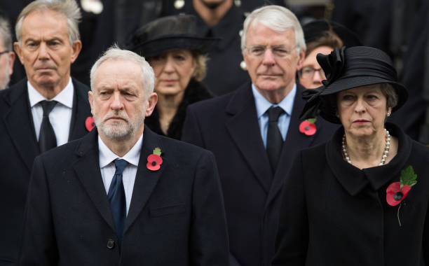 Tony Blair Jeremy Corby John Major and Theresa May during the annual Remembrance Sunday Service at The Cenotaph on November 12 2017 in London England