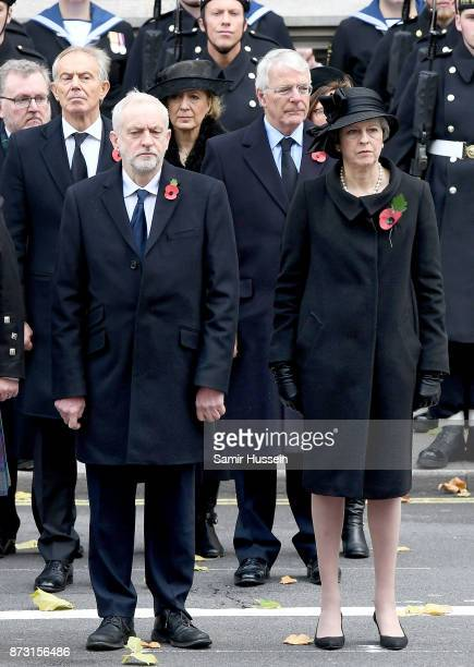 Tony Blair Jeremy Corbyn John Major and PM Theresa May during the annual Remembrance Sunday Service at The Cenotaph on November 12 2017 in London...