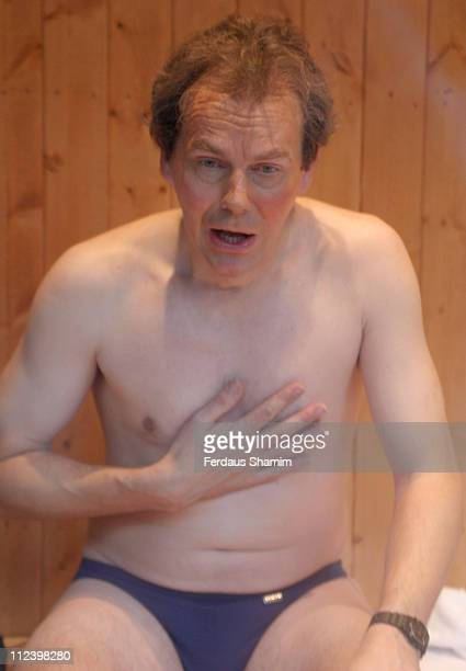 A Tony Blair lookalike during Private By Photographer Alison Jackson At Selfridges Department Store at Selfridges London in London Great Britain