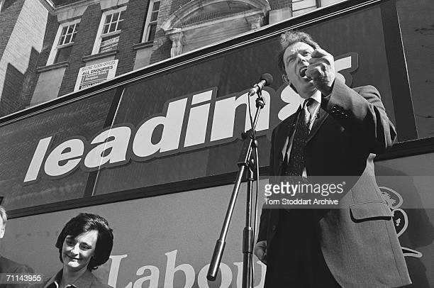 Tony Blair making an impassioned speech in Northampton during his 1997 General Election campaign His wife Cherie is next to him